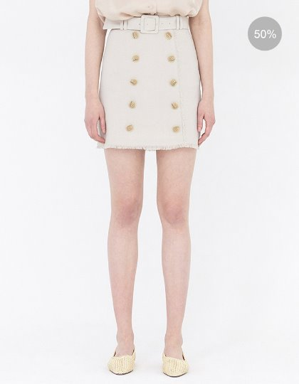 19SS BUTTON-FRONT MINI SKIRT WITH BELT - BEIGE