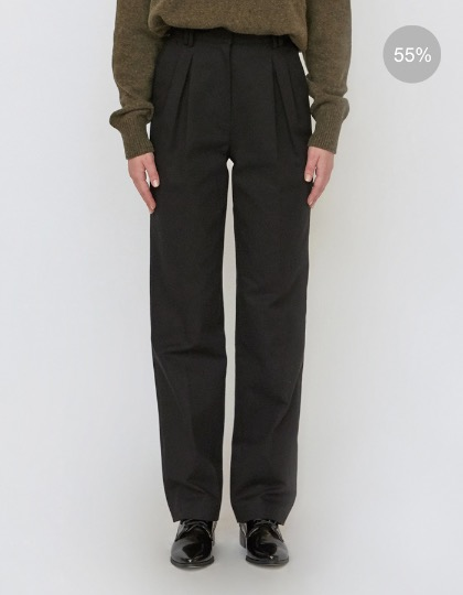 18FW HIGH-WAISTED STRAIGHT-FIT TROUSERS - BLACK
