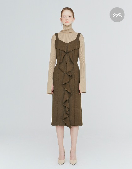 19FW FRINGED-FRILL RAW-EDGED DRESS - KHAKI MELANGE