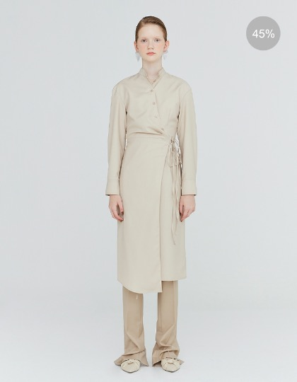 19FW TUCK-DETAIL LONG WRAP DRESS - LIGHT BEIGE
