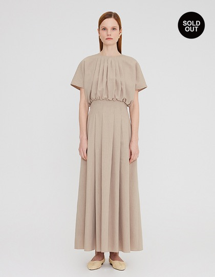 20SS PLEATED LONG DRESS WITH TUCK DETAIL - BEIGE