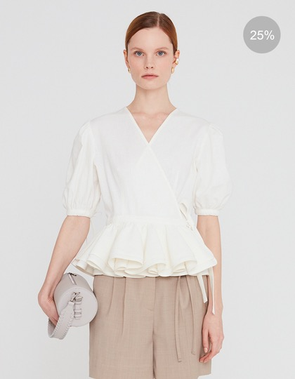 20SS LINEN WRAP BLOUSE WITH RUFFLED HEM - IVORY