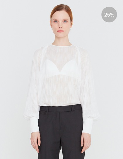 20SS SHEER BASIC BLOUSE WITH SEMI-BALLOON SLEEVES - WHITE