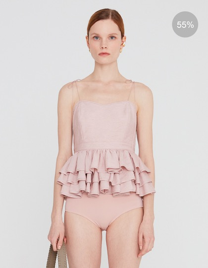 20SS RUFFLE HEM CAMISOLE WITH SPAGHETTI STRAPS - INDIAN PINK MELANGE
