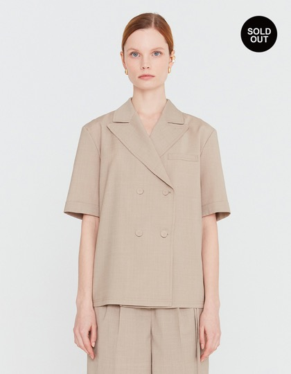 20SS SHORT SLEEVED BLOUSE WITH LAPEL COLLAR - GREIGE