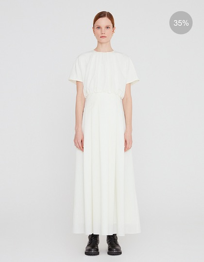 [배우 윤승아 착용] 20SS PLEATED LONG DRESS WITH TUCK DETAIL - CREAM