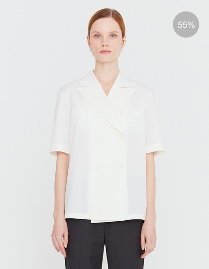 20SS SHORT SLEEVED BLOUSE WITH LAPEL COLLAR - IVORY