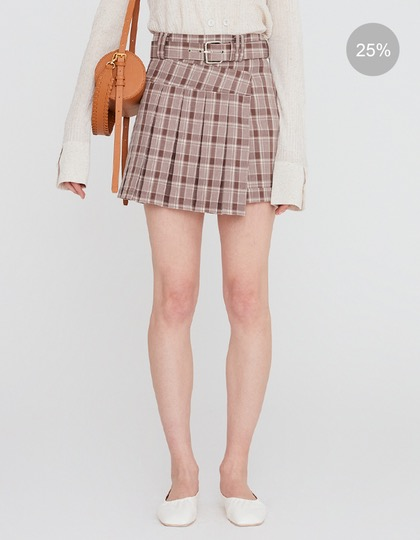 20SS PLEATED MINI SKORT WITH BELT - BROWN CHECK