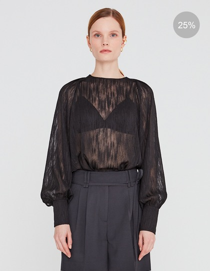20SS SHEER BASIC BLOUSE WITH SEMI-BALLOON SLEEVES - BLACK